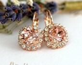 Blush Drop Earrings, Rose Gold Blush Drop Earrings, Bridal Blush Earrings, Swarovski Drop Earrings, Bridesmaids Earrings, Pink Blush drops