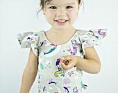 Baby Toddler Girls mermaid Flutter Sleeve Gymnastic Ballet Leotard