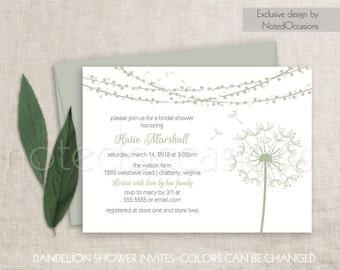 rustic bridal shower invitation printable sage dandelion bridal shower invite floral dandelion rustic bridal shower sage