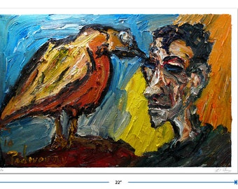 Original signed Print 15 by 22 in. / original signed print of oil painting landacape bird art animal abstract realism