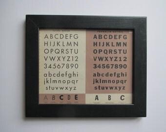 Vintage alphabet/ framed alphabet/ 1938 lettering book/Futura and Franklin Gothic
