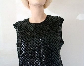 SALE - 1950s Sweater / Sequin Knit Top / Vintage Holiday Fashion