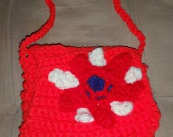 Red flower crocheted purse, little girl, handmade, red, flower