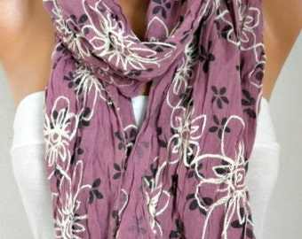 Embroidered Floral Cotton Scarf,Summer Shawl,Bohemian,Pareo,Beach Wear,Cowl Gift For Her Mom Women's Fashion Accessories