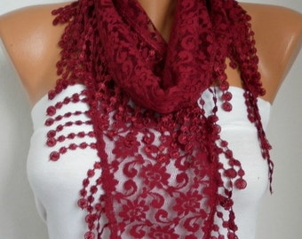 Burgundy Lace Scarf, Fall Fashion, Shawl Scarf,Women Scarves Cowl Scarf Bridesmaid Gift Gift Ideas For Her Women Fashion Accessoriesfatwoman