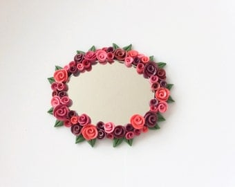 Miniature oval mirror with red roses for 1:12 scale dollhouse handmade from polymer clay