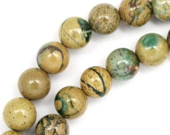 MOVING SALE Verdite Beads - 8mm Round - Half Strand