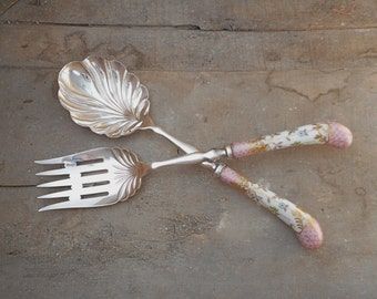 Vintage Serving Spoon and Fork Sheffield Floraine A E Lewis & Co Hand Painted Porcelain Handles Pink White Dining Table Decor Elegant Dining