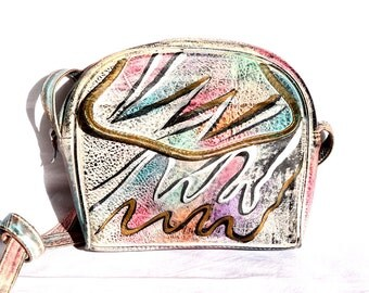Rare Brit Rosen Hand Painted Leather Purse - Rainbow Metallic Grafitti Print - Signed by Artist - Vintage 1980s - Excellent Condition