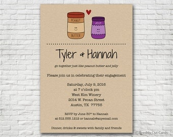 Peanut Butter & Jelly Engagement Invitation - Printable or Printed (w/ FREE Envelopes)