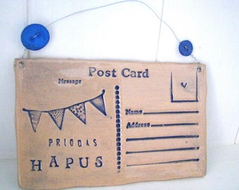 Priodas Hapus - Wedding - Ceramic postcard with vintage buttons. Made in Wales, UK.  Ready to Ship. Blue