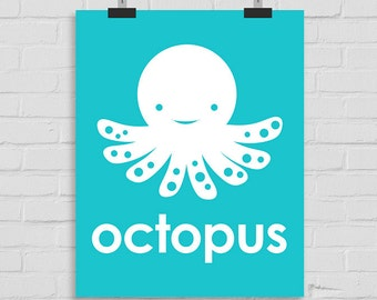 Octopus Printable Art, Sea Life Wall Art, Ocean Life Wall Print, Kids Wall Art, Playroom Art, Modern Nursery Print, Octopus Wall Art