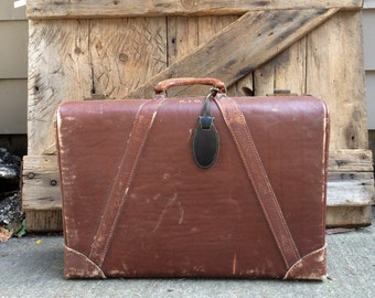 Chestnut Brown Leather Suitcase Vintage Luggage