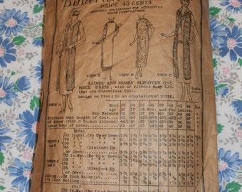 "Vintage 1919 Original Butterick Deltor Pattern 6010 Flapper Era Dress and Sleeveless Coat Bust 38"", Hip 40"""