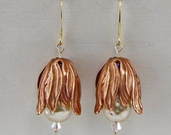Handmade Copper Tulips Pearls and Crystal Earrings Gold Filled Hooks Oscarcrow