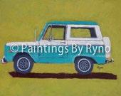 Turquoise Bronco - Art Print, Ford Bronco, Man Cave, Office Decor, Kids Room Art, Bronco, Side View, Transportation Art Print