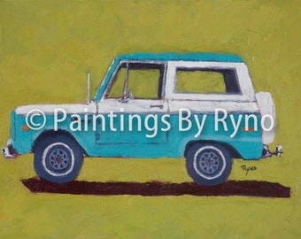 Turquoise Bronco - Art Print, Ford Bronco, Man Cave, Office Decor, Kids Room Art, Bronco, Side View, Transportation Art Print