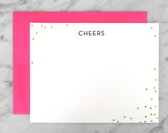 CHEERS -  Stationery Set with gold foil