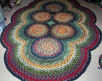 "New Handmade Folk Art 6 Circle Wool Braided Rug 7'6"" X 5'1"" Ready to be shipped"
