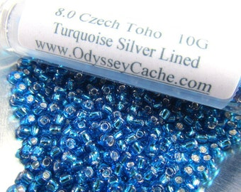 Turquoise Silver Lined 8.0 Toho Czech Glass seed jewelry making beads (10 grams) jewelry making beads