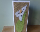 Applique  textile Lily birthday or mother's day or thankyou or sympathy card