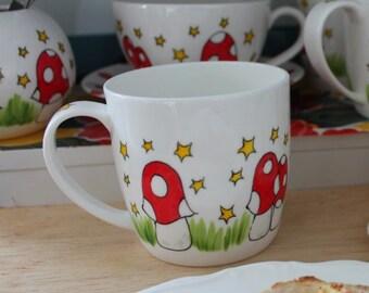 Magic Mushroom hand painted fine bone china mug