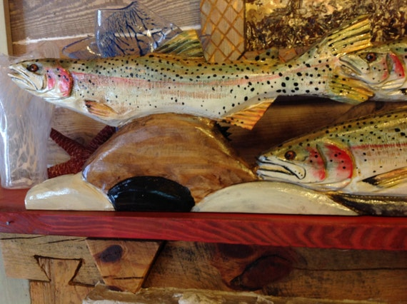Rainbow Trout River Scene 4ft. chainsaw art rustic centerpiece wood lake fish swimming over river rock carving wall mount or table stand