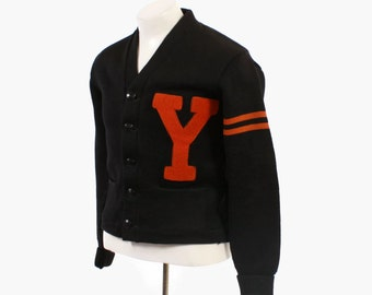 Vintage 40s Men's CARDIGAN / 1940s Orange & Black Wool Varsity Letterman Sweater S - M
