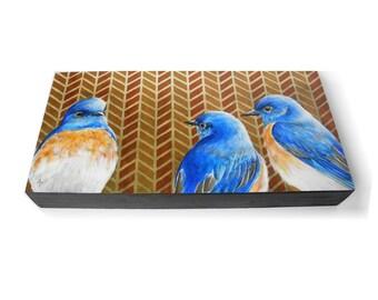 Bluebird trio, blue bird painting, herringbone geometric pattern, birdwatching, blue bird of happiness, bluebirds art, backyard songbird