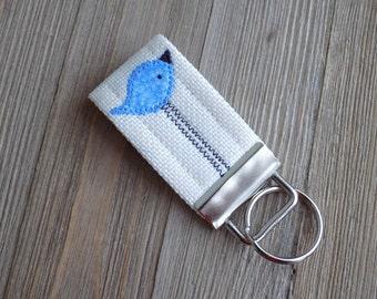 Bird key chain with blue bird, Key fob with blue bird, blue bird key chain, mini key fob, fabric key fob with bird, blue bird