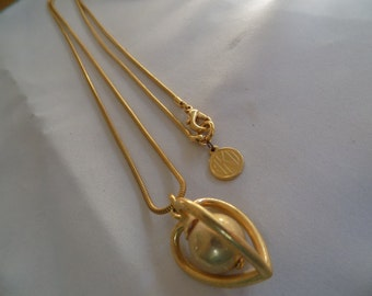 """Vintage necklace, signed AKII Anne Klein designer  """"ball in heart"""" pendant necklace, snake chain"""