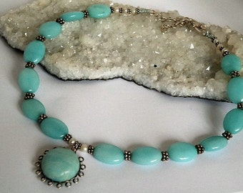 Amazonite gemstone necklace - sterling silver - wire wrapped - beaded - Handmade jewelry - Adjustable - Freshwater Pearls - S closing
