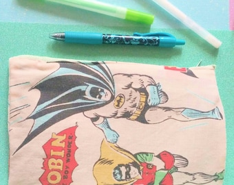 Batman and RobinAquaman  vintage upcycled make up or pencil bag zipper closure by Felices Happy Designs