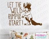 Where The Wild Things Are Quote Vinyl Wall Decal Sticker Let the Wild Rumpus Start! Carol Max Theme Nursery Kids Room MV.V2