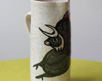 Summersale Mid Century Modern Spanish Pottery Pitcher Handpainted Bull