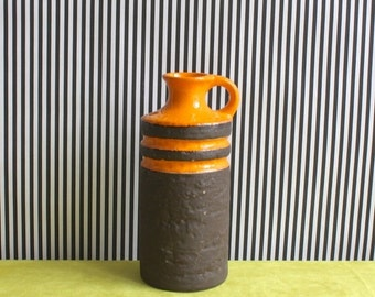 Summersale Vintage East German Pottery Handled Vase by VEB Haldensleben in Orange and Brown