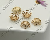 10 pcs 10mm,24K Gold Filled Simple Flower Bead Cap,filled Brass Bead Cap, Charms Jewelry Findings,Gold Filled Simple Bead Cap