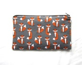 Foxes Fabric Zipper Pouch / Pencil Case / Make Up Bag / Gadget Sack