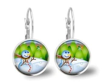 Christmas Earrings Snowman Earrings Christmas Jewelry Snowman Jewelry Holiday Jewelry GlassTile Earrings Glass Tile Jewelry Beaded Jewelry