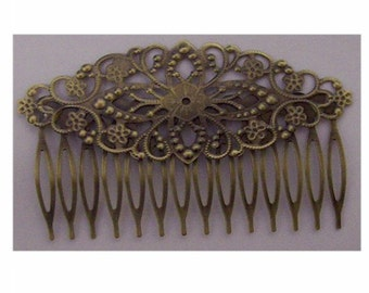 1 dozen Antiqued dark Bronze Filigree hair comb 78x35mm for beading or gluing embellishment jewelry finding victorian steampunk supply 629x