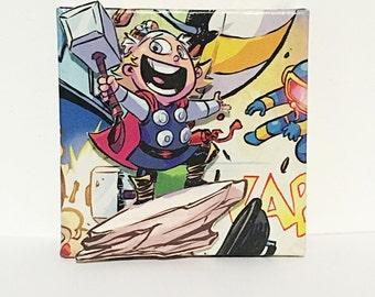 Little Thor Comic Collage Canvas Art--3x3 inches Miniature Canvas, Kid Superheroes, Marvel Comics