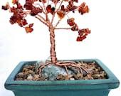 Carnelian Gemstone Bonsai Tree Sculpture with Raw Copper Nugget