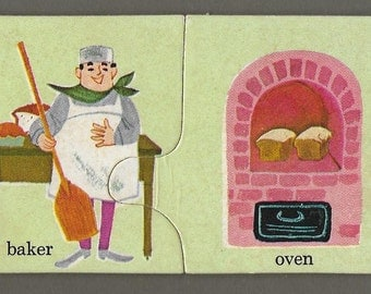 Vintage Mid Century Children's Illustration - Baker And Oven