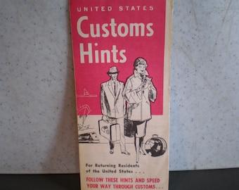 Vintage Mid Century Travel Brochure - United States Custom Hints