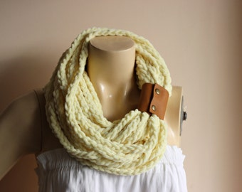 Yellow Infinity Scarf-Velvet Handmade Loop Scarf -Fringe Knitted Infinity Scarf-Extra Long with Leather Cuff