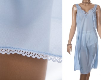 Gorgeous as new sheer silky soft pretty powder blue Nivion nylon and matching inset lace detail 1980's vintage full slip petticoat - PL1447