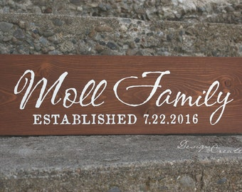Rustic Family Established Sign - Personalized Primitive Custom Made, unique paint, wedding gift,
