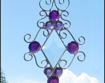 "Suncatcher - Handcrafted Stained Glass Sun-Catcher - Glass Nugget Stained Glass Sun Catcher - Decorative Wire Work - 4 1/2 x 8""- 202-PU"