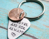 Guitar Pick Penny Key Chain DESIGN YOURS Hand Stamped Aluminum Metal Guitarist Boyfriend Personalized Custom Stamping Anniversary For Man