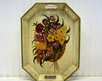 Handpainted Tole Floral Tray Lilacs Tulips Daffodils Wall Decor